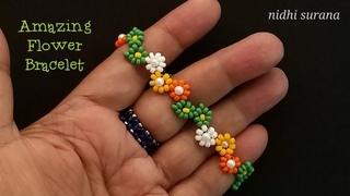 ⚜️Amazing Flowery Vines Bracelet    Seed bead Bracelet/ Choker/ Anklet    Pulsera Tutorial Diy (401)