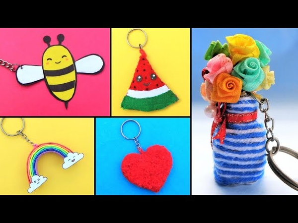 5 DIY Cute Keychains Ideas How to make Easy Keyrings at home Best out of waste