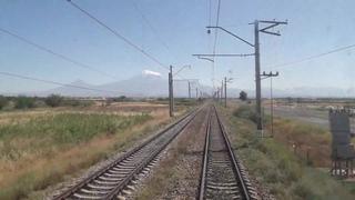 Гора Арарат, вид глазами Армянского машиниста при скорости 70 км/ч