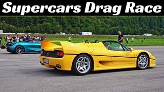 Ferrari F50 vs Lamborghini Diablo SV vs Bugatti EB 110 - 90s Supercars Airstrip Drag Race & More!