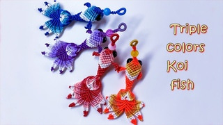 Macrame keychain tutorial - 3D Triple colors KOI fish pattern - So cute and pretty macrame animal