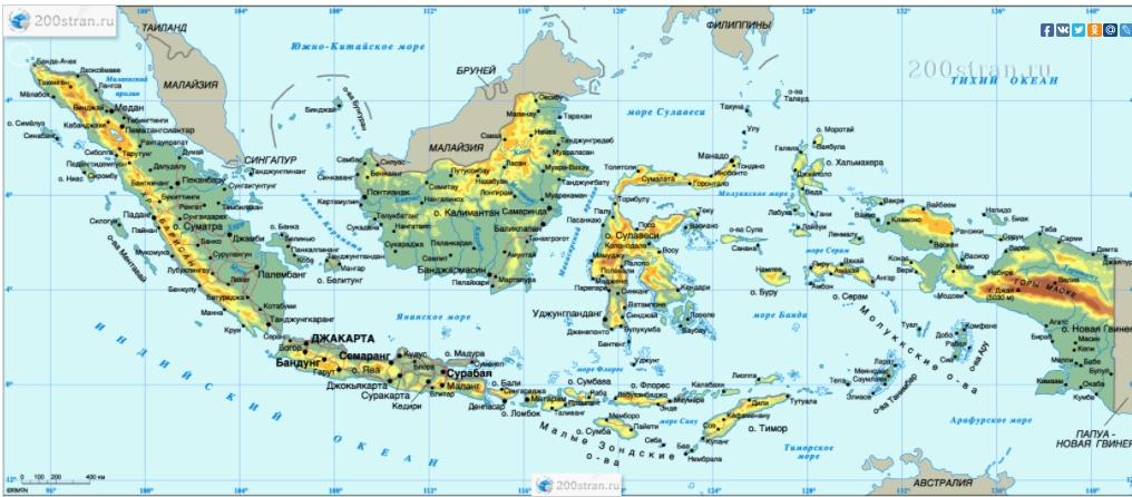 Рельефная карта Индонезии