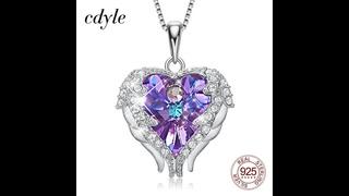 Cdyle серебряное ожерелье 925 пробы с фиолетовыми кристаллами, крылья ангела, кулон в виде сердца