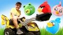 Прикольные видео – Новая машина строит крепость Энгри Бердз! - Весёлые игры стрелялки Angry Birds