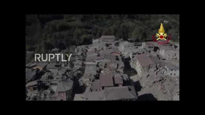Италия Дрон показывает разрушение в Аматриче после третьего землетрясение исторический город