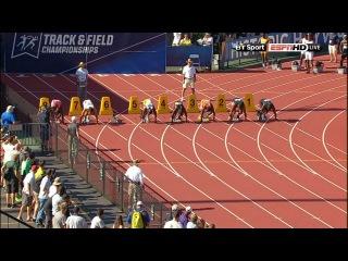 Trayvon Bromell runs  at the 2015 NCAA Championships 100m semifinal