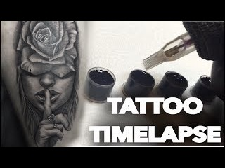 TATTOO TIME LAPSE | ROSE AND PORTRAIT SHHHHHH | CHRISSY LEE