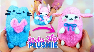 DIY VIRAL REVERSIBLE PLUSHIE WITH SOCKS!! Pusheen cat & kawaii sheep  - Cute Budget Xmas Gift Ideas