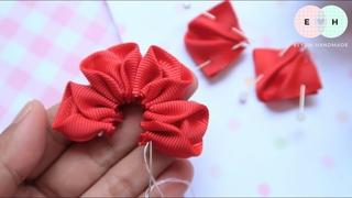 Amazing Kanzashi Flower - Hand Embroidery Works - Ribbon Tricks & Easy Making Tutorial #22