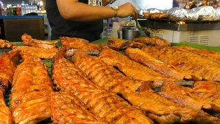 The Biggest Thai Street Food Market in Phuket. Meat, Ribs, Fried Food, Pad Thai. Naka Market