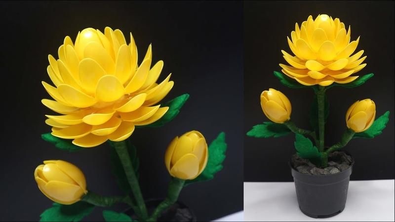 Beautiful Plastic Spoon flowers Bunga dari sendok plastik Best reuse ideas plastic spoons crafts