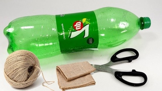 Jute art and craft work design | Plastic bottle and Jute rope craft idea for home decorating