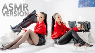 ASMR Video | Leather pants, pantyhose, over the knee boots, high heels & ear to ear [ASMR 02]