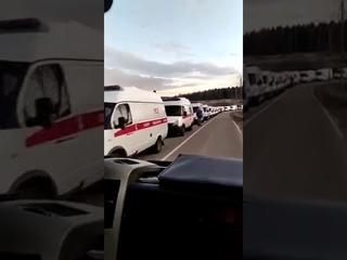 Coadă infernală de ambulanțe la un spital din Moscova.9 ore de așteptare pentru predarea pacientului