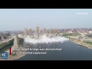 Демонтаж моста в Хунань