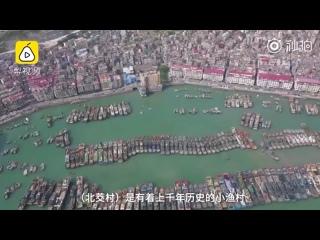 Аэрофотосъемка Китайской рыбацкой поселка в Бэйцзяо, Фуцзянь