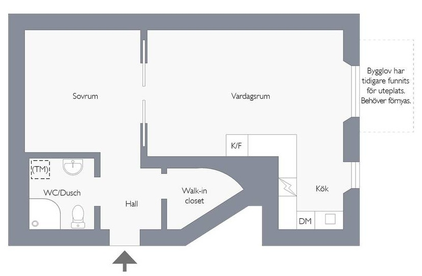 Скандинавская квартира-студия 35 м.