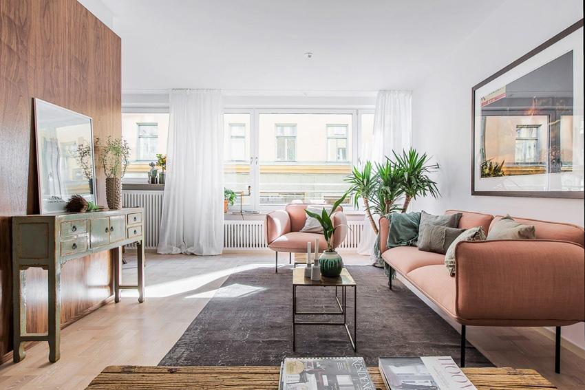 Стильный дизайн квартиры 48 м со шкафом-перегородкой в Швеции.