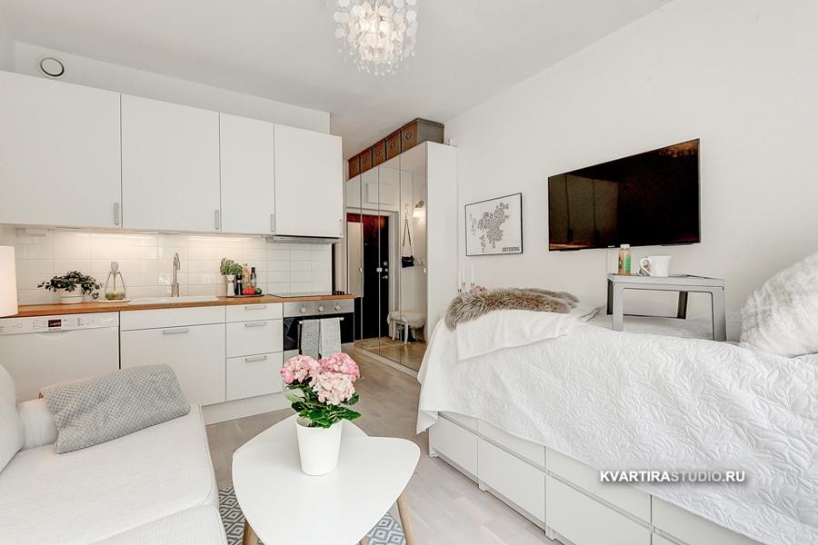 Белоснежный интерьер малометражной квартиры 20 м.