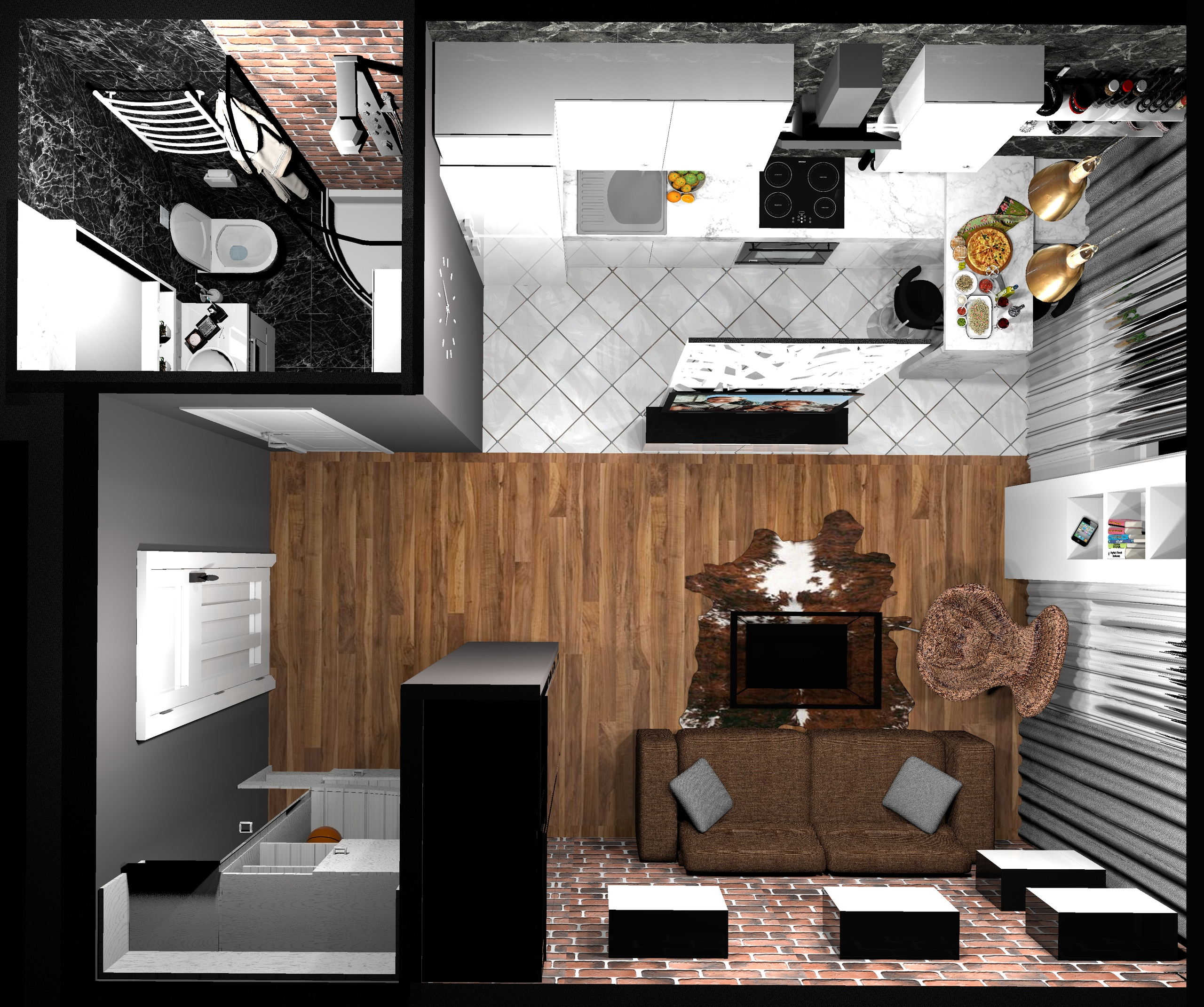 Проект студии 25 кв/м в стиле лофт.