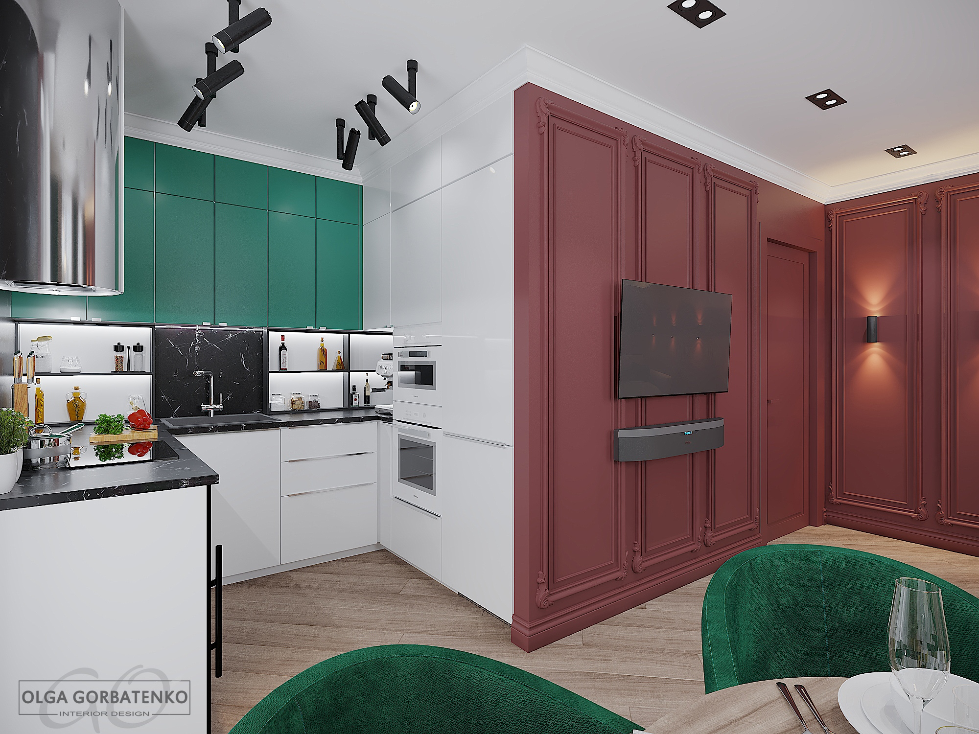 Кухня-гостиная в ярких тонах.