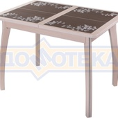 Стол кухонный Каппа ПР ВП МД 07 ВП МД пл 44, молочный дуб, коричневая плитка с сакурой
