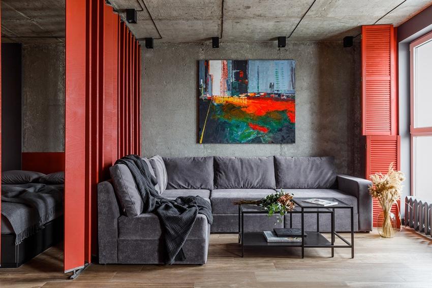 Интерьер квартиры 43 м с яркими акцентами в Краснодаре.