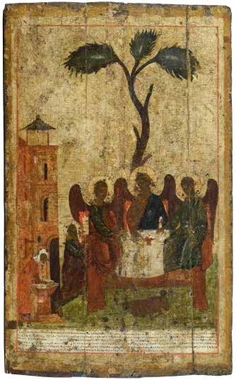 Святая Троица («Зырянская»). Икона конца XIV векаиз собрания ВГИАХМЗ (ВОКМ 2780)