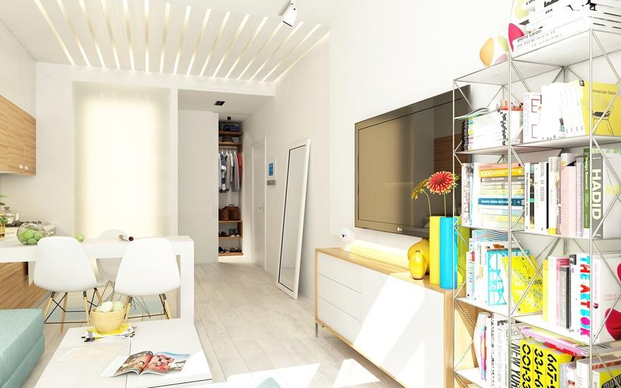 Проект квартиры 29 м, прямоугольная планировка с боковым входом.