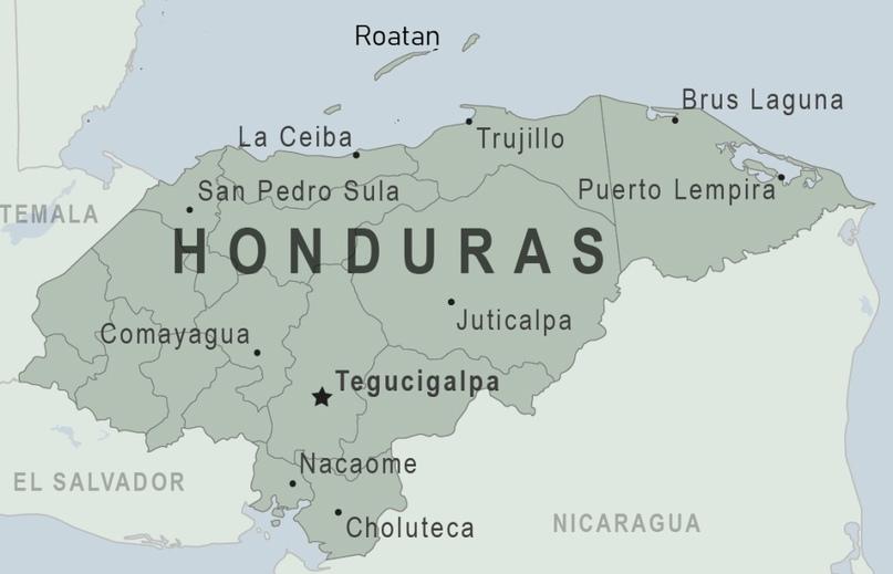 Расположение Роатана (нынешний хаб Просперы) и Ла Сейбы (вероятный будущий хаб-спутник) в Гондурасе.