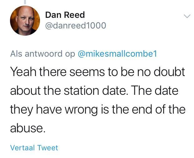 Дэн Рид: «Да, вроде бы нет сомнений о дате станции. Дата, с которой они ошиблись — дата окончания насилия».