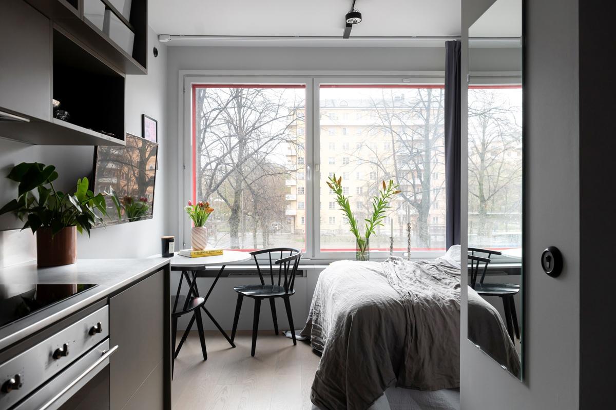 Интерьер маленькой шведской квартиры-студии 18 кв.