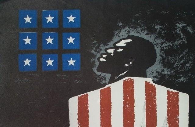 """Советская карикатура 60-х годов: """"Настоящий смысл флага США"""""""