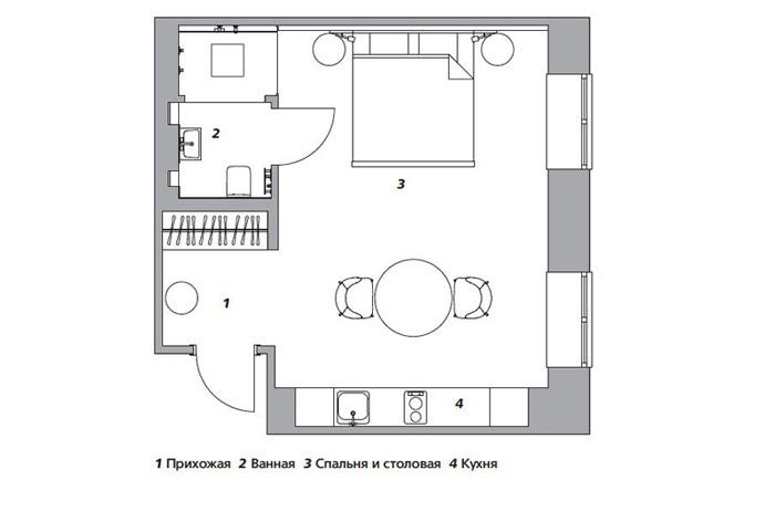 Интерьер квартиры 36 м в Казани.
