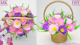 🌹 Крокусы в корзинке на 8 марта.🌹 Цветы из фоамирана. 🌹Crocuses in a basket on March 8 from foamiran