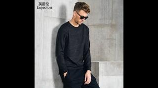 Мужская толстовка с длинным рукавом enjeolon, черная камуфляжная толстовка с круглым вырезом, пуловер, свитшот, wy532, весна