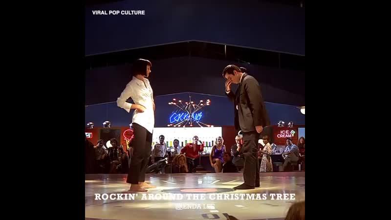 Винсент Вега и Мия Уоллес танцуют под рождественские песни