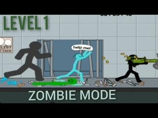 Anger of stick 5 : zombie gameplay (level 2 walkthrough) big frien mission / microgun weapon