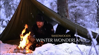 Winter Overnighter Deep In the Wilderness - Fork Carving - Lots of Snow - Bushcraft Stool