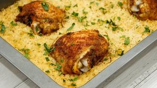 Потрясающий обед или ужин из простых продуктов. Запечённые куриные бёдра с рисом 0+