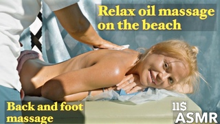ASMR BACK & FOOT RELAX OIL MASSAGE on the BEACH