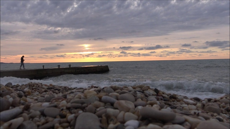 пляж Любимовка вечереет Закат солнца в ручную 18 10 2020г
