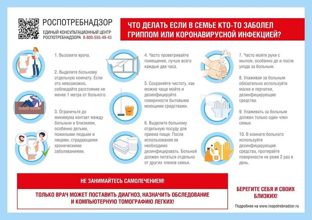 Рекомендации от Роспотребнадзора для тех, у кого в семье есть заболевшие гриппом, ОРВИ или коронавирусной инфекцией