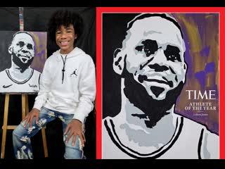 Подросток нарисовал портрет баскетболиста Леброна Джеймса для журнала Time